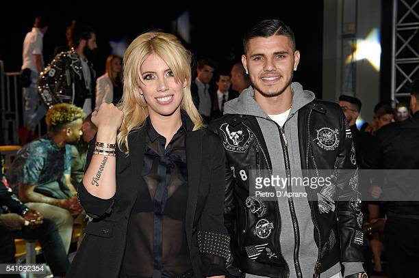 Mauro Icardi and his wife Wanda Nara attend the Philipp Plein show during Milan Men's Fashion Week SS17 on June 18 2016 in Milan Italy