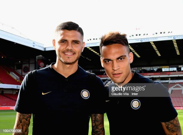 Mauro Icardi and Lautaro Martínez of FC Internazionale pose for a photo prior to the preseason friendly match between Sheffield United and FC...