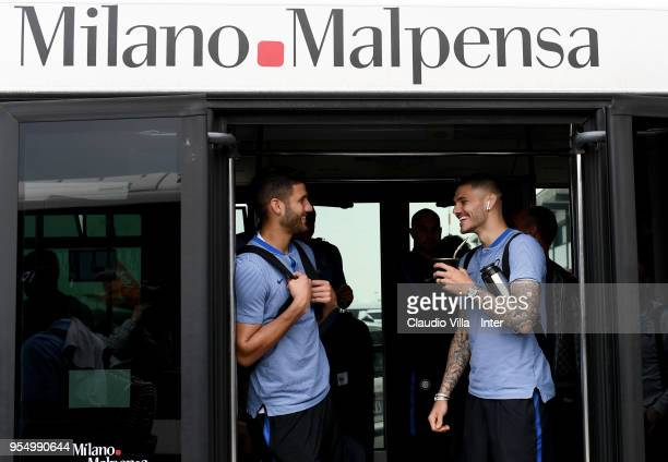 Mauro Icardi and Lisandro Lopez of FC Internazionale depart to Udine on May 5 2018 in Milan Italy