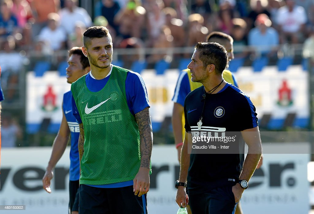 Mauro Icardi (L) and Sylvinho during a FC Internazionale training session on August 6, 2015 in Bruneck, Italy.