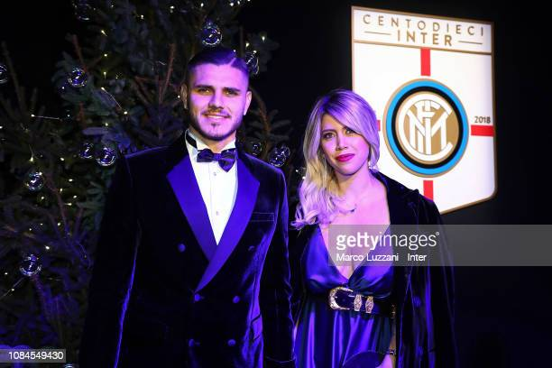 Mauro Icardi and Wanda Nara attend the FC Internazionale Xmas Dinner on December 18 2018 in Milan Italy