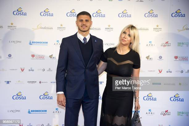 Mauro Icardi and Wanda Nara attend the Gentleman Prize on May 14 2018 in Milan Italy