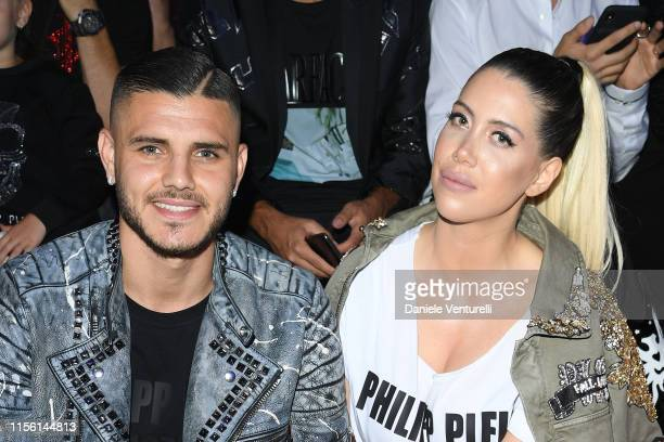 Mauro Icardi and Wanda Nara attends the Philipp Plein fashion show during the Milan Men's Fashion Week Spring/Summer 2020 on June 15 2019 in Milan...