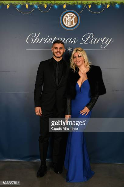 Mauro Icardi and Wanda Nara pose for a photo during a FC Internazionale Christmas Party on December 18 2017 in Milan Italy