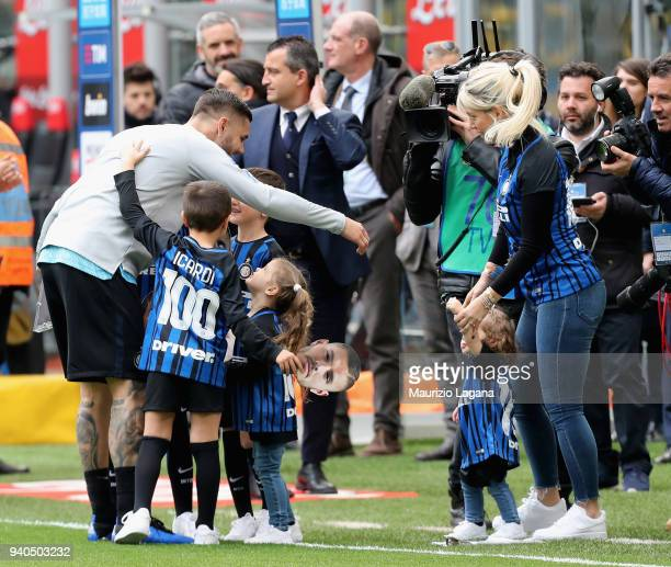 Mauro Icardi and Wanda Nara prior the serie A match between FC Internazionale and Hellas Verona FC at Stadio Giuseppe Meazza on March 31 2018 in...