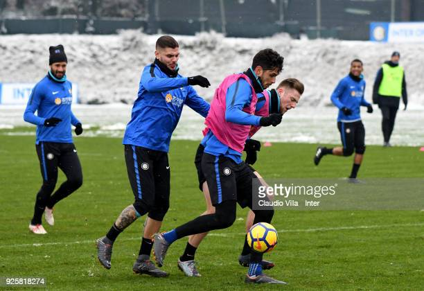 Mauro Icardi Andrea Ranocchia and Milan Skriniar of FC Internazionale in action during the FC Internazionale training session at the club's training...