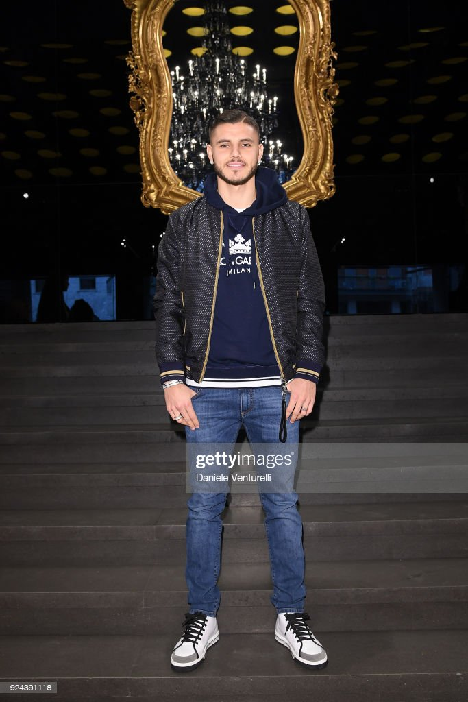 Mauro Icardi attends the Dolce & Gabbana show during Milan Fashion Week Fall/Winter 2018/19 on February 25, 2018 in Milan, Italy.
