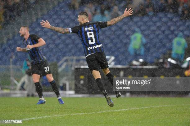 Mauro Icardi celebrates after goal 02 during the Italian Serie A football match between SS Lazio and Inter at the Olympic Stadium in Rome on october...
