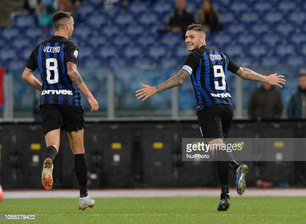 Mauro Icardi celebrates after scoring goal 01 during the Italian Serie A football match between SS Lazio and Inter at the Olympic Stadium in Rome on...