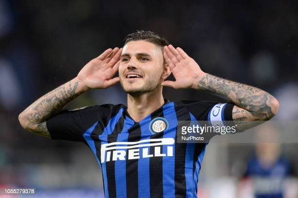 Mauro Icardi celebrates after scoring goal 03 during the Italian Serie A football match between SS Lazio and Inter at the Olympic Stadium in Rome on...