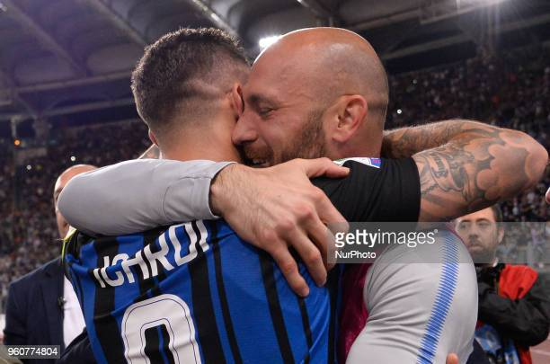 Mauro Icardi celebrates the victory with Tommaso Berni after the Italian Serie A football match between SS Lazio and FC Inter at the Olympic Stadium...