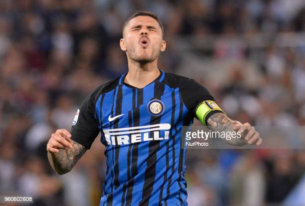 Mauro Icardi during the Italian Serie A football match between SS Lazio and FC Inter at the Olympic Stadium in Rome on may 20 2018