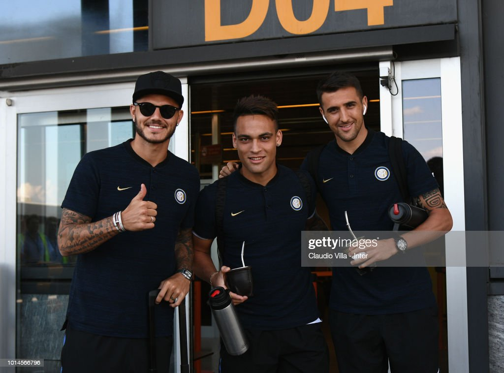 Mauro Icardi, Lautaro Martínez and Matias Vecino of FC Internazionale depart from Malpensa Airport on August 10, 2018 in Milan, Italy.