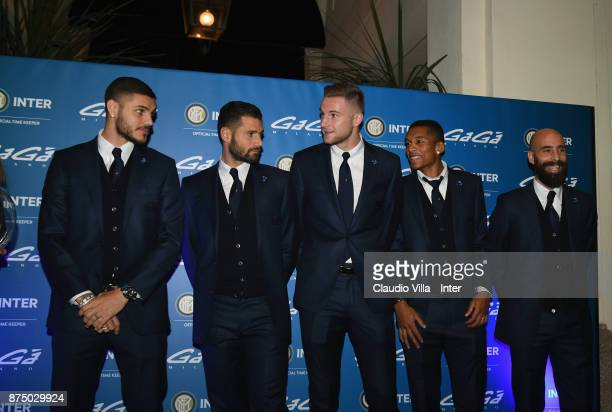 Mauro Icardi Milan Skriniar Antonio Candreva Borja Valero and Dalbert Henrique Chagas Estevão attend the unveiling of a new partnership with Gaga' on...