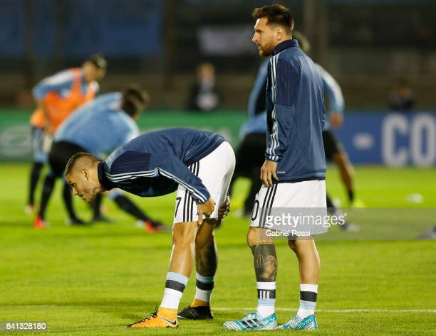 Mauro Icardi of Argentina and Lionel Messi of Argentina warm up prior to a match between Uruguay and Argentina as part of FIFA 2018 World Cup...