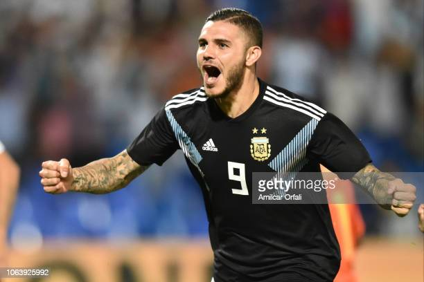 Mauro Icardi of Argentina celebrates after scoring the first goal of his team during a friendly match between Argentina and Mexico at Malvinas...