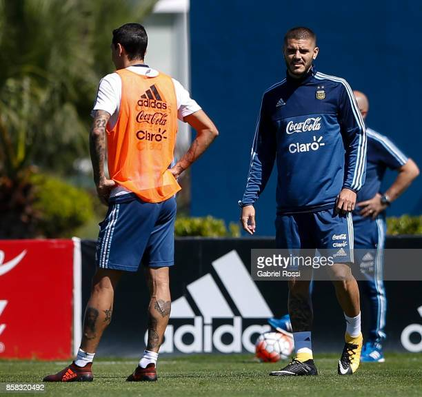 Mauro Icardi of Argentina looks on during a training session at Argentine Football Association 'Julio Humberto Grondona' training camp on October 03...
