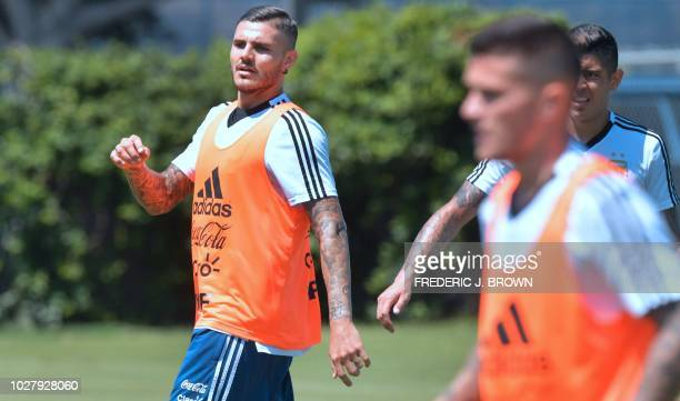 Mauro Icardi of Argentina looks on during a training session in Carson California on September 6 ahead of the international soccer friendly between...