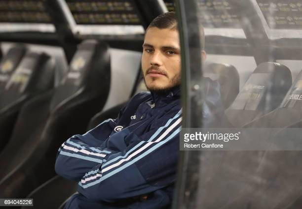 Mauro Icardi of Argentina looks on from the bench before the Brazil Global Tour match between Brazil and Argentina at Melbourne Cricket Ground on...