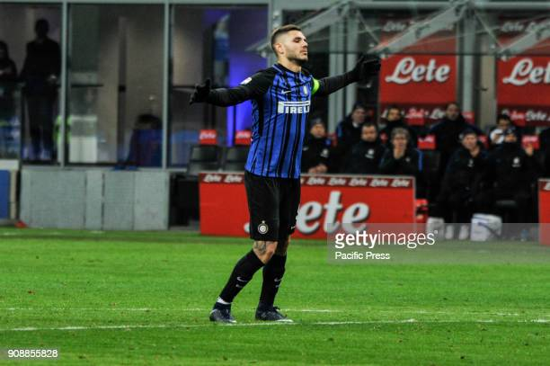 Mauro Icardi of FC Inter during Serie A football FC Inter versus AS Roma FC inter and AS Roma finish the match 11