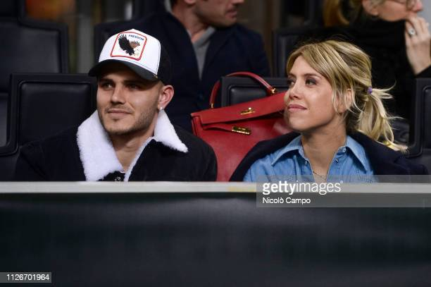 Mauro Icardi of FC Internazionale and his wife and football agent Wanda Nara attend the UEFA Europa League round of 32 second leg football match...