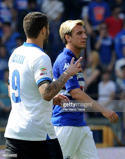 Mauro Icardi of FC Internazionale and Maxi Lopez of UC Sampdoria during the Serie A match UC Sampdoria and FC Internazionale Milano at Stadio Luigi...