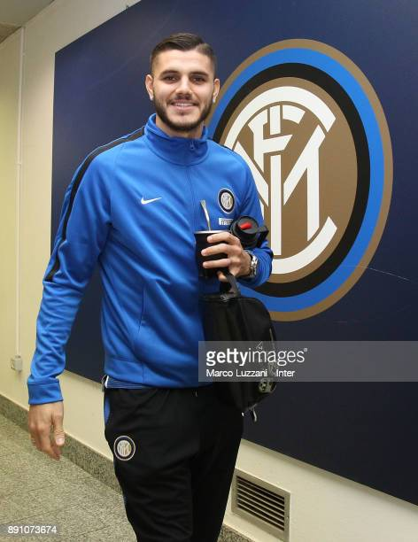 Mauro Icardi of FC Internazionale arrives prior to the TIM Cup match between FC Internazionale and Pordenone at Stadio Giuseppe Meazza on December 12...