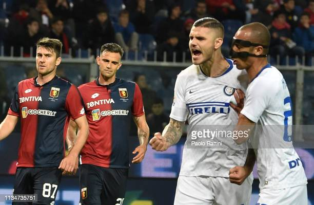 Mauro Icardi of FC Internazionale celebrates after penalty 0-2 during the Serie A match between Genoa CFC and FC Internazionale at Stadio Luigi...