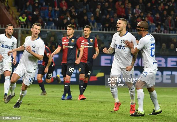 Mauro Icardi of FC Internazionale celebrates after penalty 02 during the Serie A match between Genoa CFC and FC Internazionale at Stadio Luigi...