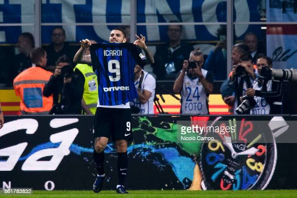Mauro Icardi of FC Internazionale celebrates after scoring a goal during the Serie A football match between FC Internazionale and AC Milan FC...