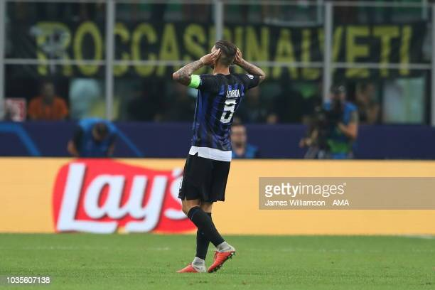 Mauro Icardi of FC Internazionale celebrates after scoring a goal to make it 11 during the Group B match of the UEFA Champions League between FC...