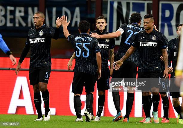 Mauro Icardi of FC Internazionale celebrates after scoring the first goal during the Serie A match between FC Internazionale Milano and Udinese...