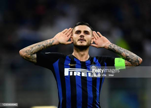 Mauro Icardi of FC Internazionale celebrates after scoring the opening goal during the Group B match of the UEFA Champions League between FC...