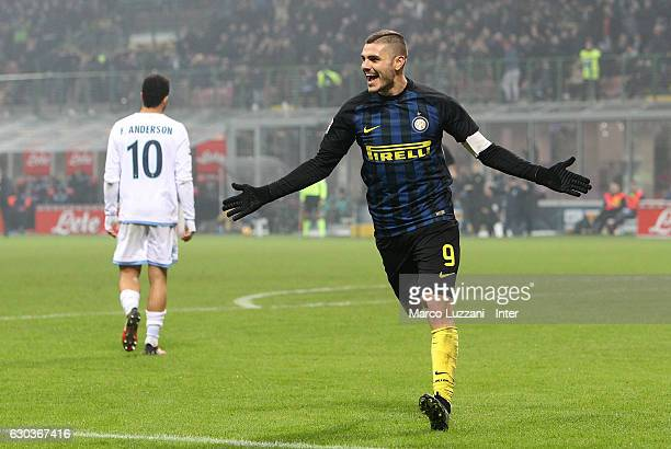 Mauro Icardi of FC Internazionale celebrates after scoring the goal during the Serie A match between FC Internazionale and SS Lazio at Stadio...