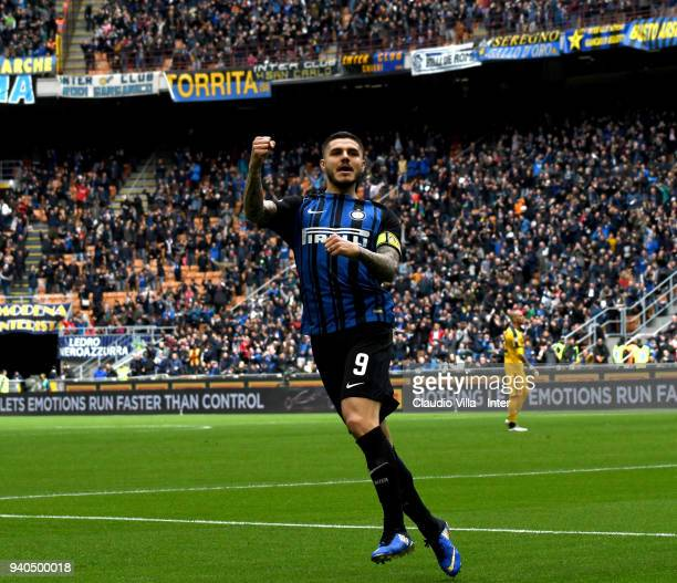 Mauro Icardi of FC Internazionale celebrates after scoring the opening goal during the serie A match between FC Internazionale and Hellas Verona FC...
