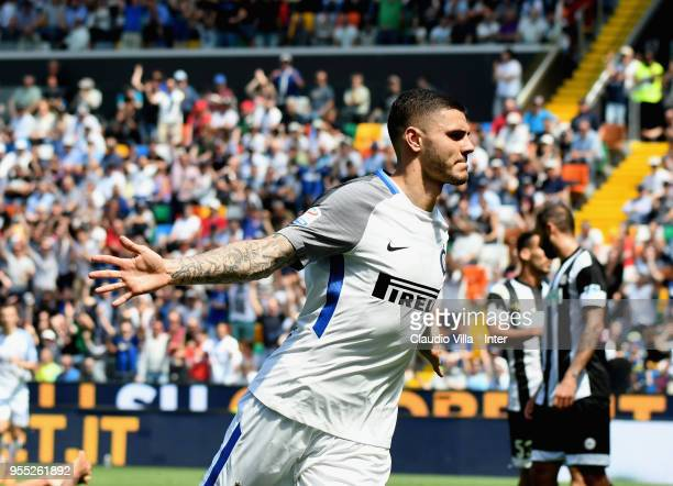 Mauro Icardi of FC Internazionale celebrates after scoring the third goal during the serie A match between Udinese Calcio and FC Internazionale at...