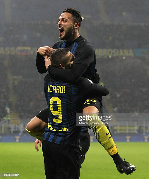 Mauro Icardi of FC Internazionale celebrates with Danilo D'Ambrosio of FC Internazionale after scoring the second goal during the Serie A match...