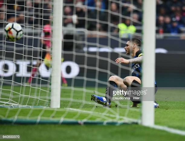 Mauro Icardi of FC Internazionale celebrates with Ivan Perisic after scoring the third goal during the serie A match between FC Internazionale and...