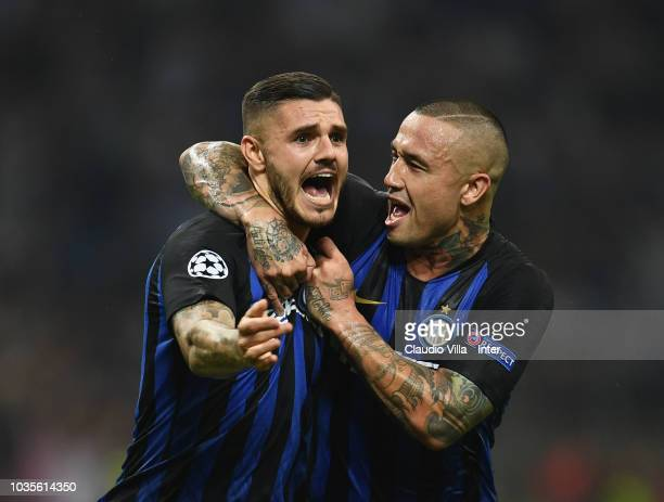 Mauro Icardi of FC Internazionale celebrates with Radja Nainggolan after scoring the goal during the Group B match of the UEFA Champions League...