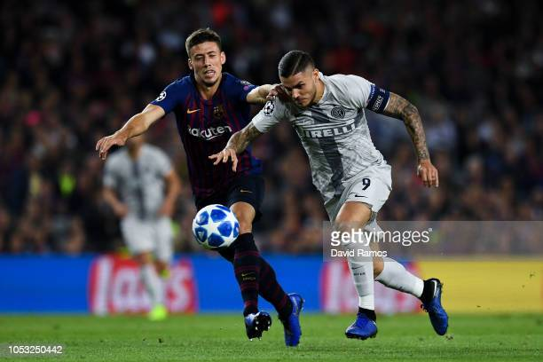 Mauro Icardi of FC Internazionale competes for the ball with Clement Lenglet of FC Barcelona during the Group B match of the UEFA Champions League...