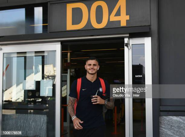 Mauro Icardi of FC Internazionale depart to Nice from Malpensa airport on July 27 2018 in Milan Italy