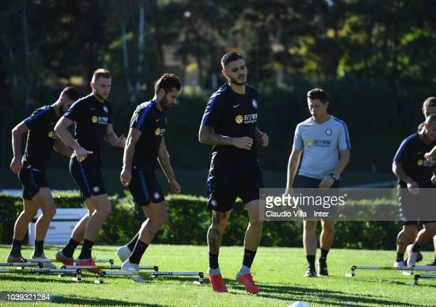 Mauro Icardi of FC Internazionale in action during a training session at the club's training ground Suning Training Center in memory of Angelo...