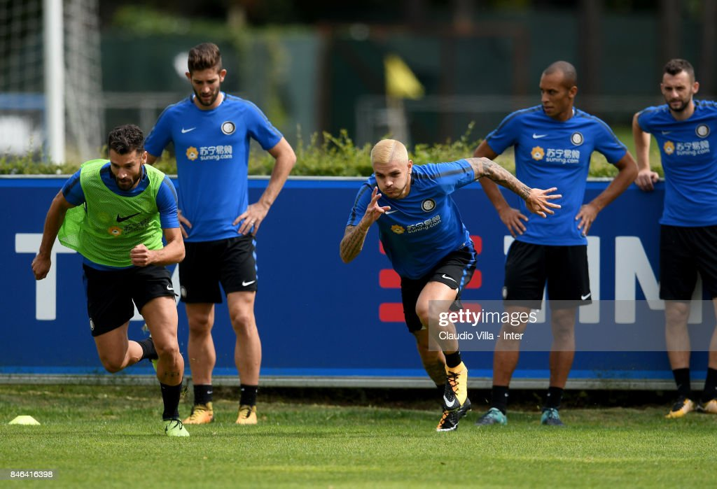 Mauro Icardi of FC Internazionale in action during a training session at Suning Training Center at Appiano Gentile on September 13, 2017 in Como, Italy.