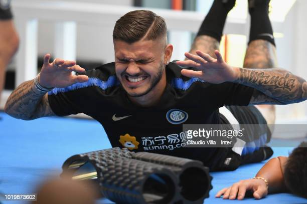 Marcelo Brozovic Matteo Politano Ivan Perisic and Matias Vecino of FC Internazionale in action during the FC Internazionale training session at the...