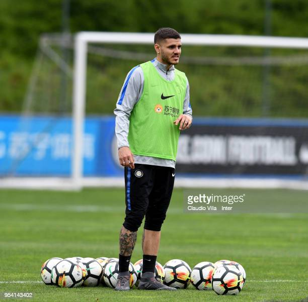 Mauro Icardi of FC Internazionale in action during the FC Internazionale training session at the club's training ground Suning Training Center in...
