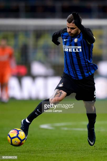 Mauro Icardi of FC Internazionale in action during the Serie A football match between FC Internazionale and AS Roma The match ended in a 11 tie