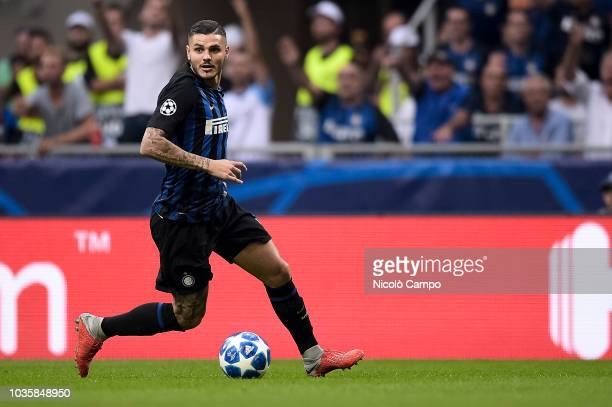Mauro Icardi of FC Internazionale in action during the UEFA Champions League football match between FC Internazionale and Tottenham Hotspur FC...