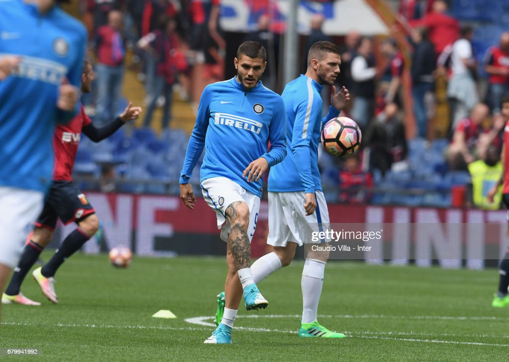 Mauro Icardi of FC Internazionale in action priot to the Serie A match between Genoa CFC and FC Internazionale at Stadio Luigi Ferraris on May 7, 2017 in Genoa, Italy.
