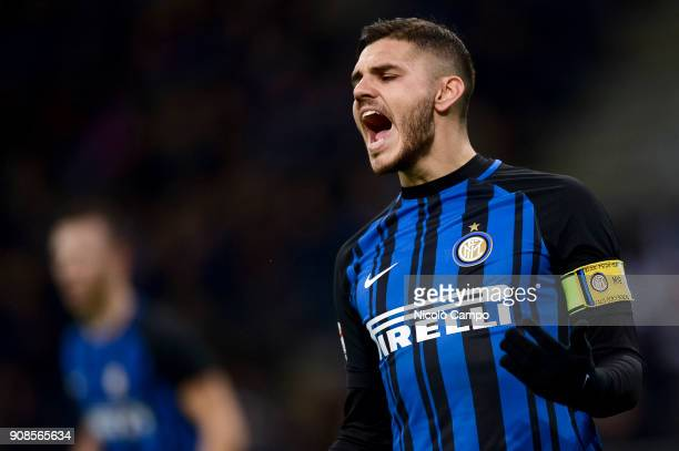 Mauro Icardi of FC Internazionale is disappointed after missing a chance during the Serie A football match between FC Internazionale and AS Roma The...