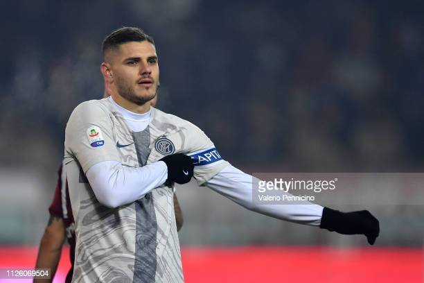 Mauro Icardi of FC Internazionale looks on during the Serie A match between Torino FC and FC Internazionale at Stadio Olimpico di Torino on January...